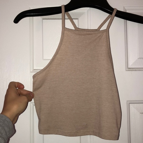 Nollie Tops - Nude fitted halter top